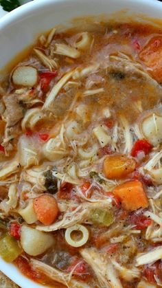 Sicilian Chicken Soup Recipe ~ with a peppery broth, fresh vegetables and tender most chicken.