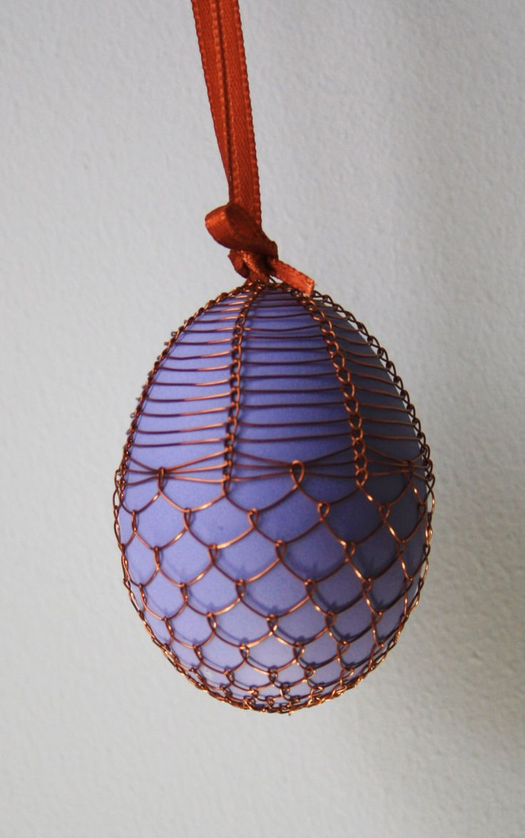Handmade Copper Wire Wrapped Easter Eggs - Pysanky - Lavendar by czechegg on Etsy https://www.etsy.com/listing/257750115/handmade-copper-wire-wrapped-easter-eggs
