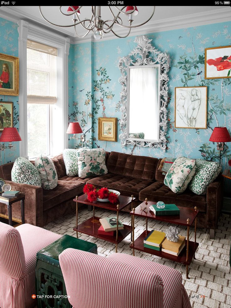In a brooklyn townhouse iksels eastern eden wallpaper turns the family room into a bower miles redd