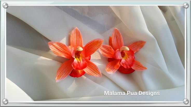 REAL TOUCH CORAL Orchids, Tropical Hair Flowers, Bridal Flower Clip, Swarovski Crystal, Beach Wedding, Headpiece, Hair Accessory, Hawaiian by MalamaPuaBridal on Etsy https://www.etsy.com/listing/242685229/real-touch-coral-orchids-tropical-hair