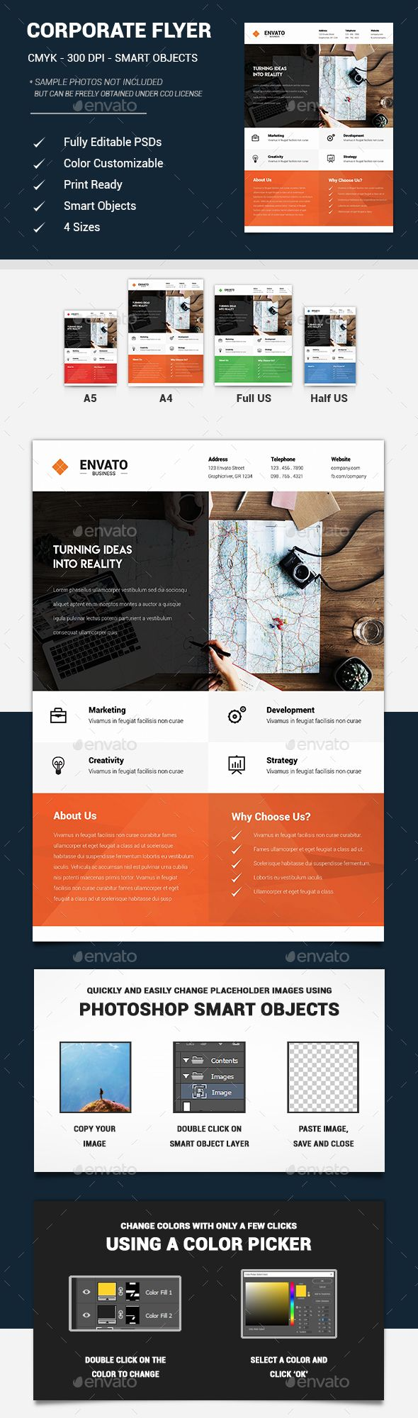 #simple #Corporate #Business #Flyer #template - #company #agency #Flyers #design. download here: https://graphicriver.net/item/corporate-business-flyers/20223819?ref=yinkira