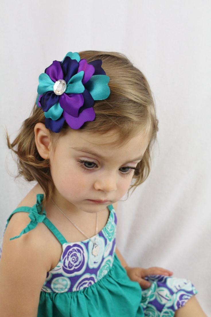 Junior bridesmaid hair accessories - Teal Purple Navy Flower Hair Bow Multi Color Hair Clip Large Flower Clip Blue