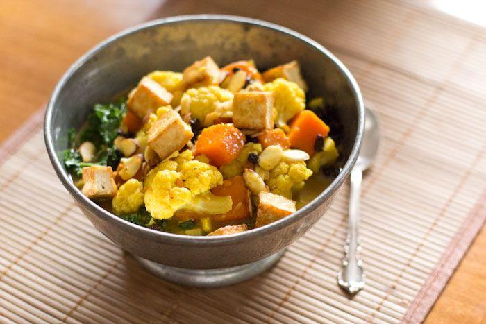 rice w/ coconut curried sweet potato and cauliflower with sauteed kale ...