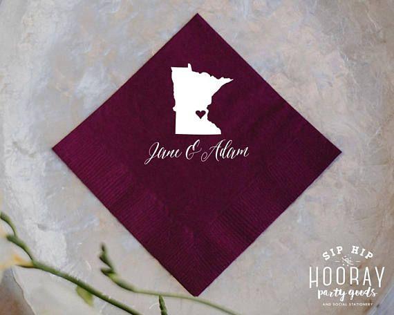 State Wedding Napkins Personalized Custom Cake For Weddings Tail