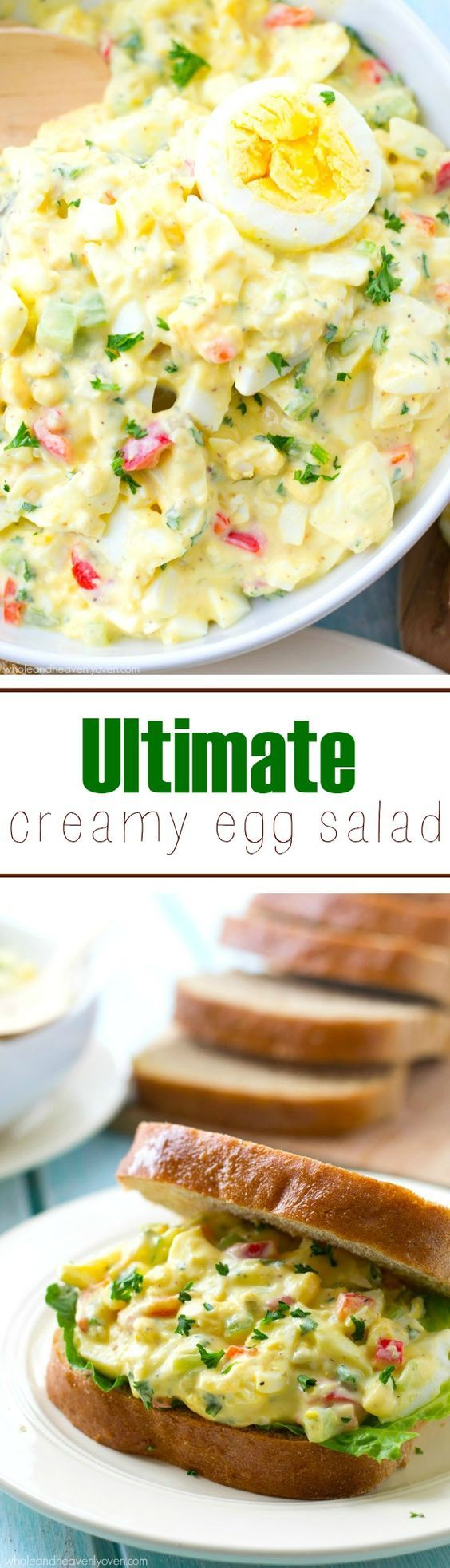 Ultra creamy and packed with flavor, this family-favorite egg salad is a fabulous way to use up extra eggs! @WholeHeavenly