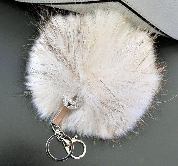 Fur Pom Pom Keychain Bag Charm Faux Fur Pom Pom Purse
