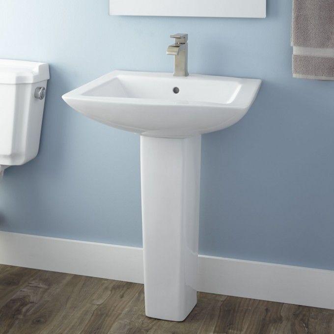 58 best images about powder room on pinterest pedestal for Floating pedestal sink