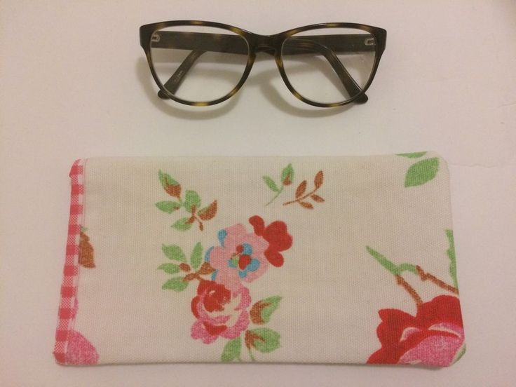 Handmade Glasses Case Pink Roses And Pink Gingham
