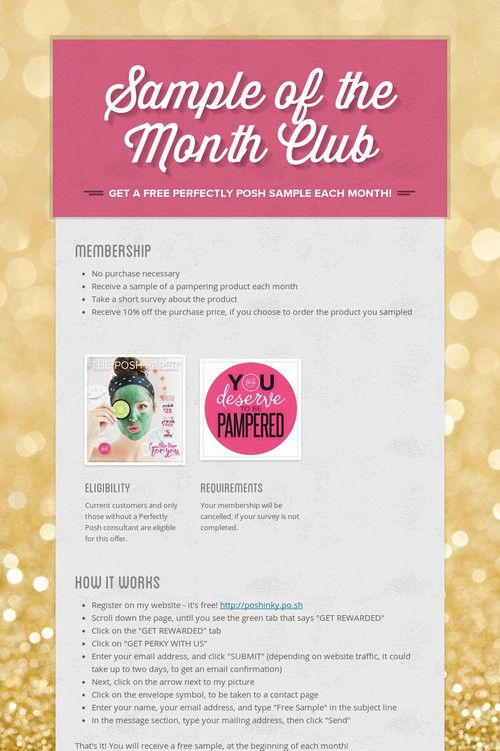 Help spread the word about Sample of the Month Club. Please share! :)