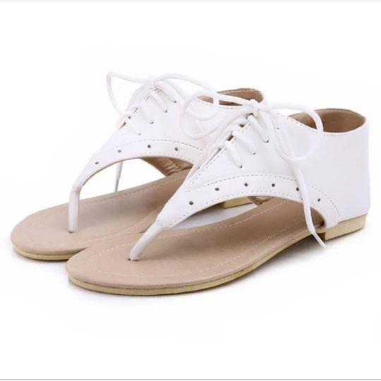 Women Lace up Flat Sandals Casual Female Cover Heel Shoes