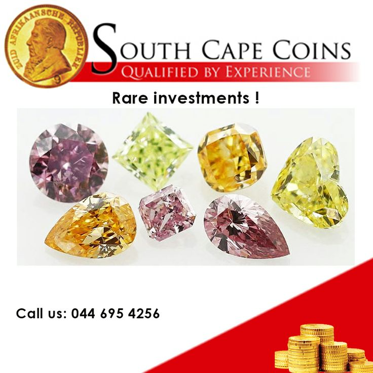 Rare Investments! Color diamonds are exceptionally rare. For every 1 carat color diamond, 10,000 carats of white diamonds are mined. Of the production of color diamonds mined, less than 1% of color diamond production would be considered investment grade.  Looking for more stable investments?  Call us: 044 695 4256 For more information: info@southcapecoins.co.za #coins, #investment, #colourdiamonds