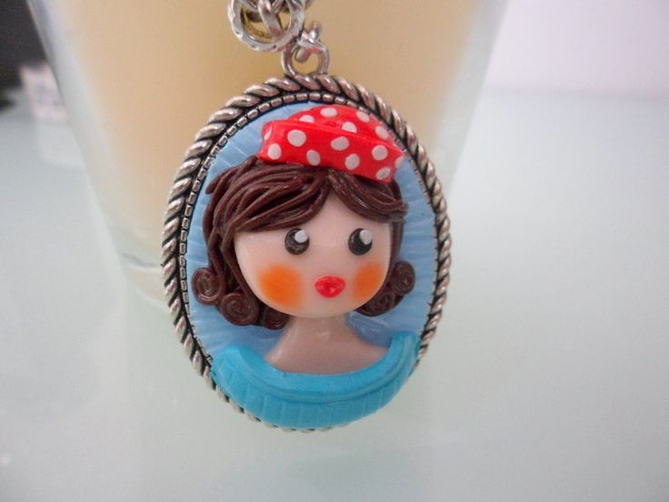 Beautiful retro woman in comics style, Vintage Girl necklace, retro necklace, doll necklace, girl charms, polymer clay charms, retro style by TheWonderfulClay on Etsy