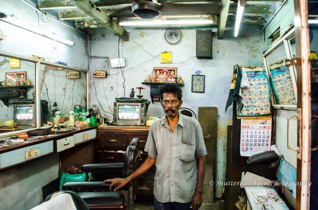 Shivanathan at his saloon. Indian Barber Shop