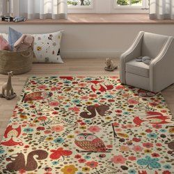 Brasfield Enchanted Forest Cream Red Area Rug Future Home Area