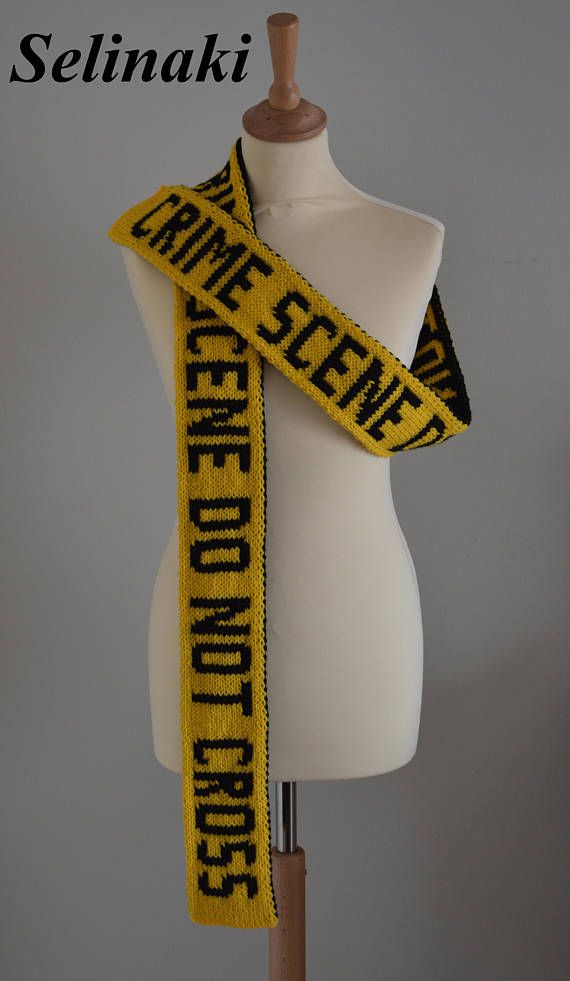 Hand Knitted Crime Scene Do Not Cross Caution Tape  The scarf is double sided (one side is yellow, the other side is black), handmade by me with 100% acrylic yarns.  Approximately 214 cm long x 9.5 cm wide (84 inches long x 4 inches wide)  Ready to ship.  Thanks for looking and please contact me for any questions.  (Colors may appear differently in real life due to camera and monitor settings)
