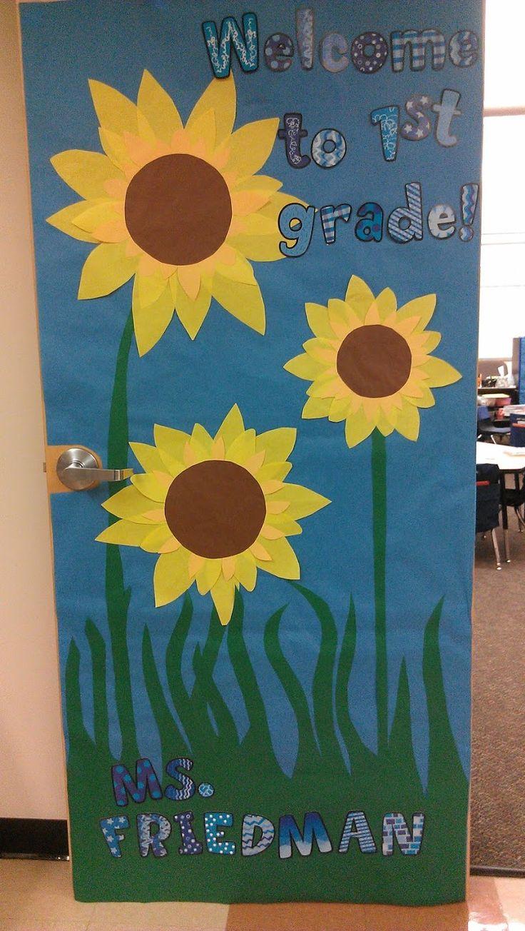 Sunflowers fall classroom door