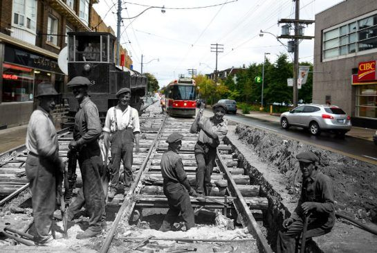 Nuit Blanche photo collages join Toronto's past and present in startling ways Harry Enchin's immersive multimedia installation will be part of the all-night arts festival on Oct. 4. Scroll on the photos below to see the image change over a century.