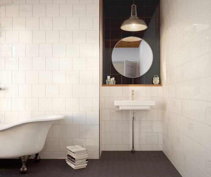 "Modern Scadinavian style ""Railo"" tiles designed by Karin Widnäs for Pukkila, Here with ""Harmony"" floor tiles, from Pukkila as well."