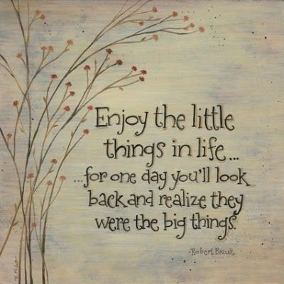 Enjoy the little things in life, for one day you'll look back and realize they were the big things.