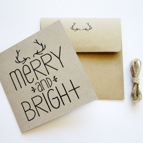 Merry & Bright Cards! Typography Christmas Card  Hand Drawn Type 4.75 x by LovePopInk