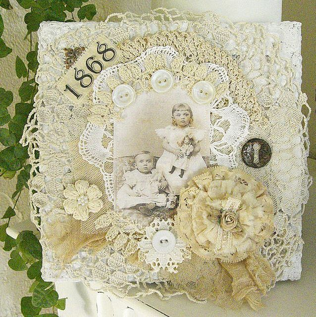 fabric collage on canvas by saray-viola, via Flickr