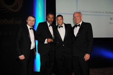 """Redington wins """"Pension Consultancy of the Year 2012"""" at the Global Investor Awards.   Co-CEO's collecting the award on the night."""
