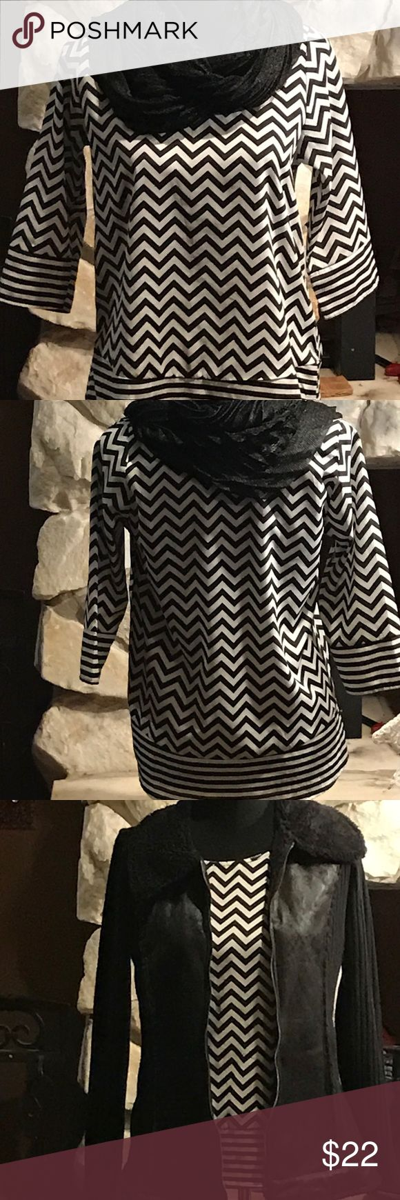 Black chevron top Black short sleeved chevron top Blue Rain Tops Blouses