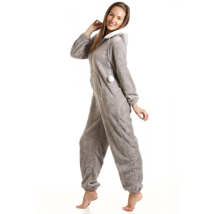 Combinaison pyjama à capuche en polaire ultra douce - femme - gris - taille 38 à 48 46/48