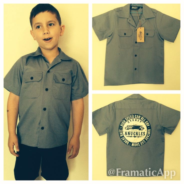 Our Knuckles High Speed Racing Garage Shirt is a must have for any young greazer. Its a classic garage style shirt that any yound man would love to wear all over town! Its easy wearing cotton drill shirt in the traditional grey color, features our High Speed Racing design on the back, chest pockets and a button up front. All our screen printing is done by hand to ensure top quality prints.  Available in grey Made from 100% cotton drill double pre shrunk. Australian Made