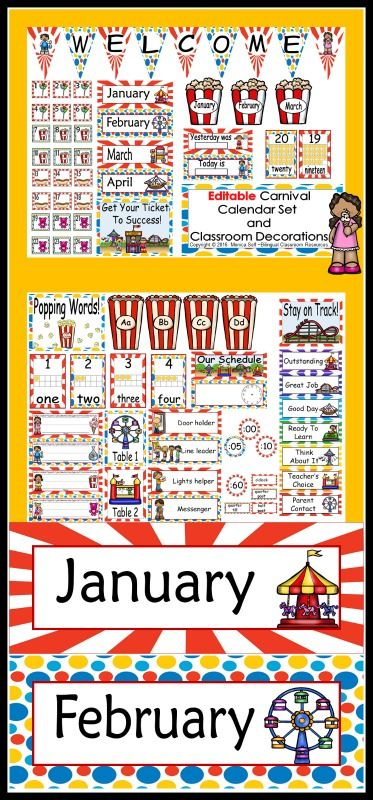 "Getting your room ready for school?   This calendar set is a great addition to anyone's Carnival Themed classroom!   I'm so excited about this packet because it is editable, and thus enables you to customize your calendar to meet your needs. When you type in the title you can also change the font and size of your text. I have included the words, ""Add text here"" or ""edit"" to show you where I have the editable boxes."