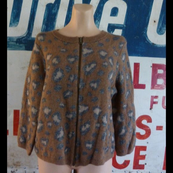 Ann Taylor LOFT Animal Print Zip Up Cardigan.  XL As new condition.  Appears unworn.  40% rayon, 21% ramie, 14% wool, 11% cotton, 9% nylon and 5% other fibers.  Measures  22 inches from shoulder to hem.  Measures 22 inches side to side at the under arm.  Same or next day shipping. LOFT Sweaters Cardigans