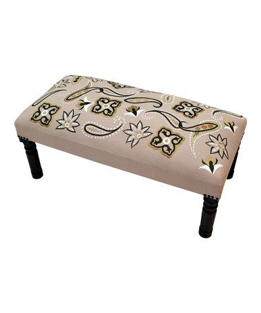 Love this Beige & Yellow Dreams Embroidered Bench on #zulily! #zulilyfinds