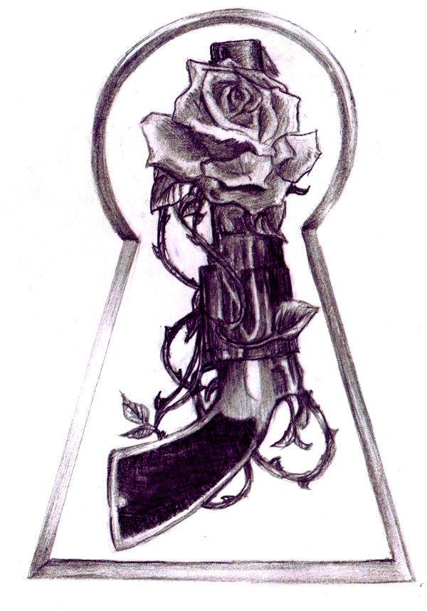 ::Rose and Gun Tattoo