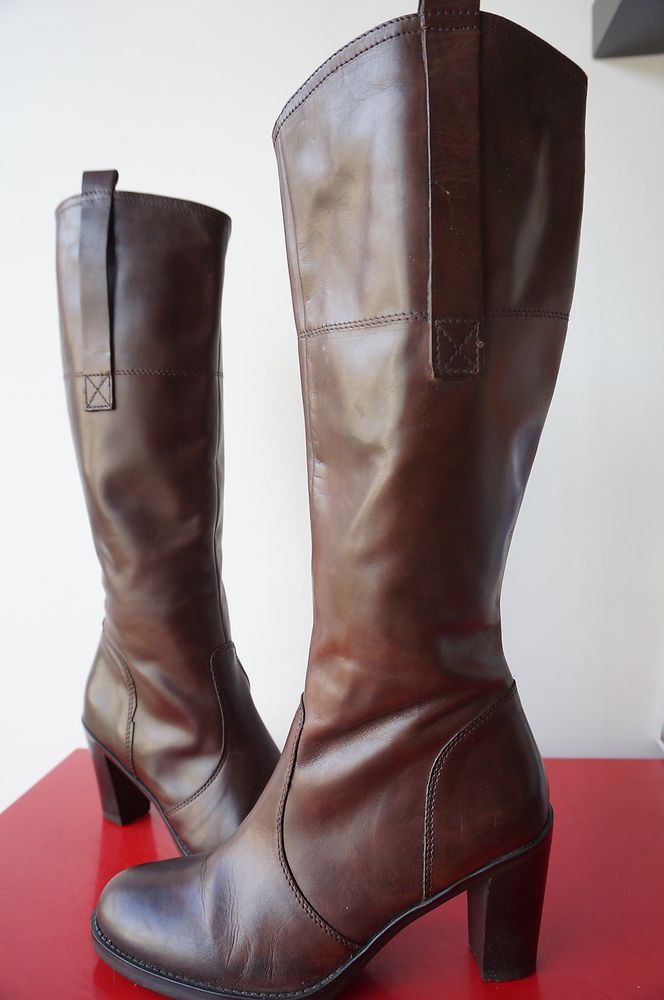 Bottes bOOTS san marina Cuir LEATHER mARRON T 40 Comme neuf mollet large new