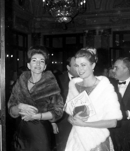 Maria Callas and Princess Grace of Monaco c.1965.