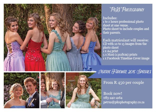 Matric Farewell Photoshoot Specials for 2015