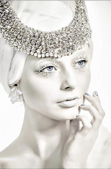 "Modern fairytale/karen cox. Fairy tale fashion fantasy in white. Snow / Ice Queen.  ""The Ice Queen"" - Model: Angela Dalton -  Makeup: Shameela - Photographer: GDH Photography"