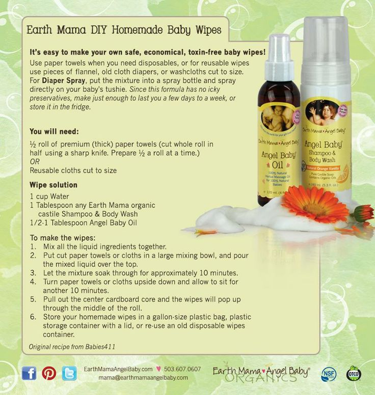 Make your own DIY safe, toxin-free baby wipes with Earth Mama's organic castile Shampoo & Body Wash