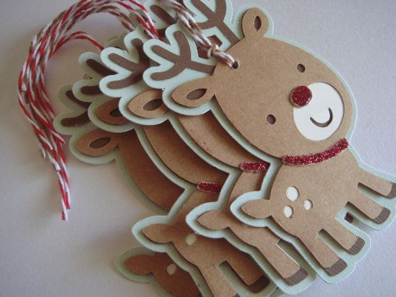 Christmas Gift, tag Reindeer gift tag, Winter Gift Tag Rudolph by CraftyClippingsbyPeg