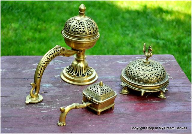 Vintage Brass Incense Holders