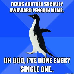 Socially Awkward Penguin - really need to stop pinning these. Seems like a good one to stop on.