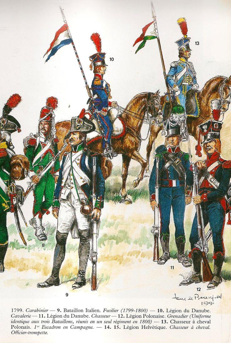 Contigenti italiani, svizzeri e polacchi dell'armata francese durante la seconda campagna d'Italia