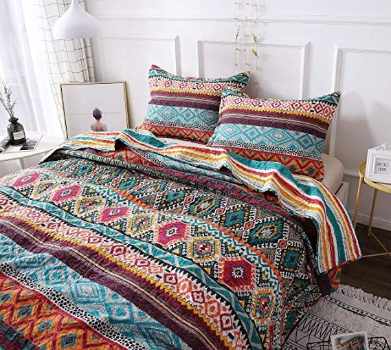 Dada Bedding Southwestern Aztec Bedspread Bohemian Desert Tribal Quilted Set Bright Vibrant Multi Co Bohemian Style Decor Bed Spreads Cottage Style Kitchen