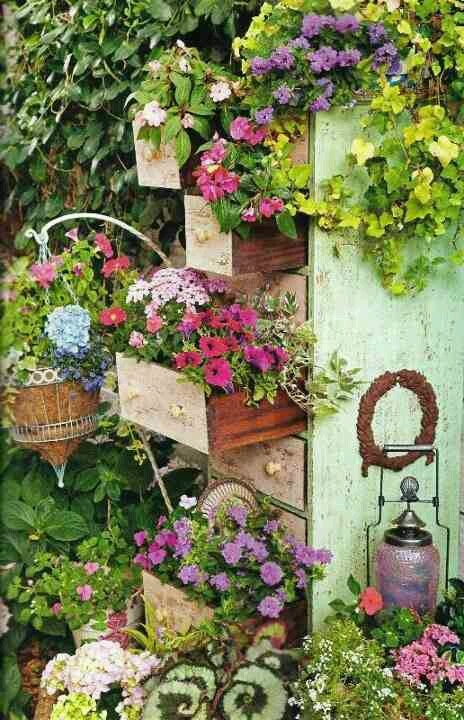 Chest of Drawers Flower Tower- what a great idea!