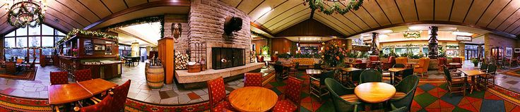 Panoramic shot of the Emerald Lounge and Great Hall at the Fairmont Jasper Park Lodge