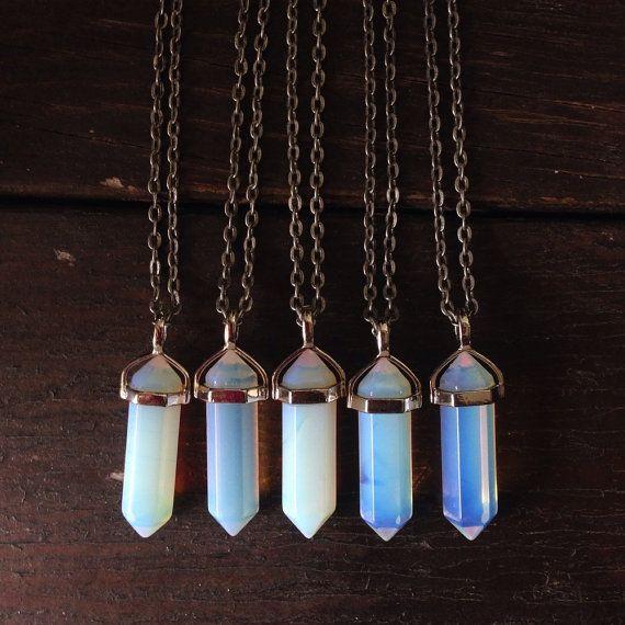 Опалит, Хрустальные точку колье, серебра Кристалл Кулон, ожерелье чакра, чакра, Crystal ожерелье, каменное ожерелье,Кулон Кристалл