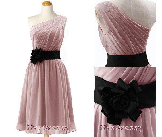 Pink Black Dress with Belt