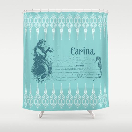Mermaid Shower Curtain   Vintage Mermaid And Seahorse  Teal And White,  Retrou2026