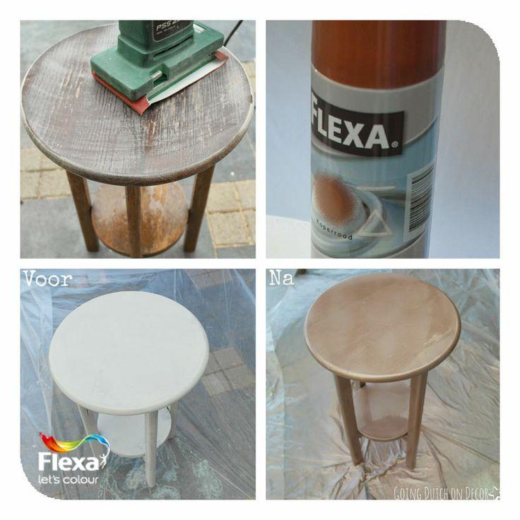 @Karin/ Going Dutch on Decor maakt regelmatig leuke DIY-blogs, ook met producten van Flexa! Hier heeft ze bijvoorbeeld een tafeltje overgespoten met Flexa Metallic Spuitlak Koperrood.  Neem eens een kijkje op haar pagina en voor meer info over de producten op www.flexa.nl.