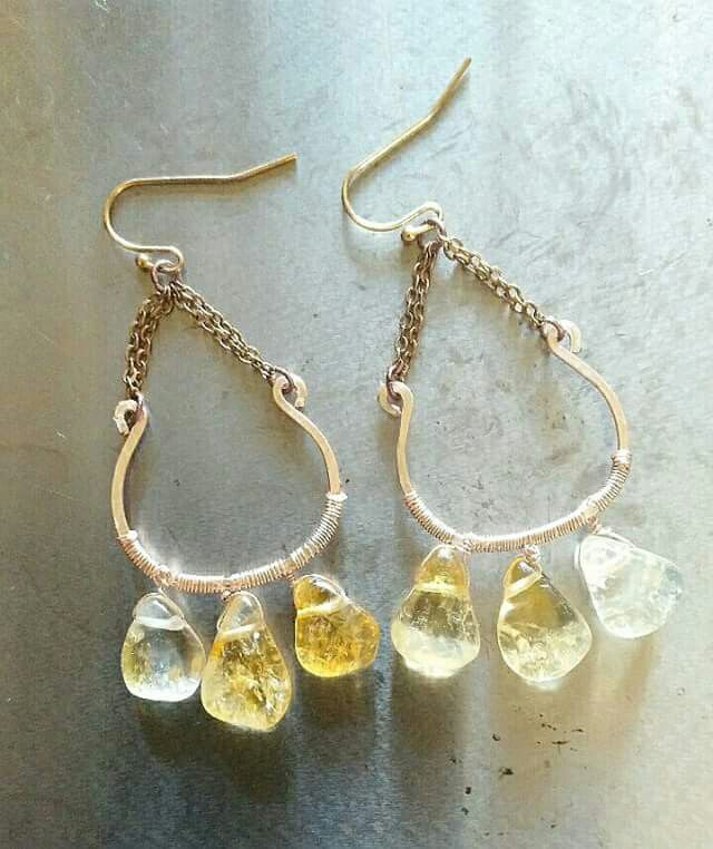 Citrine drops on rose-gold wire and chain earrings
